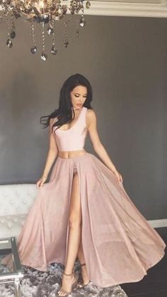 elegant two piece blush prom dress with split, fashion 2 piece blush chiffon party dress with split