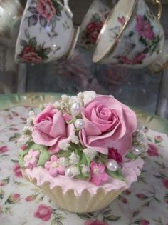 (Belle Anne) Fake Cupcake Fake Cupcakes, Fake Cake, Cupcake Cakes, Cup Cakes, Cupcake Centerpieces, Victorian Dolls, Shabby Chic Interiors, Most Beautiful Flowers, Rose Cottage