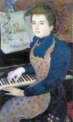 Princess Maleine's Minuet or Marthe Playing the Piano Maurice Denis Oil on canvas. Musée d'Orsay. Portrait of Marthe Meurier, Denis's fiancée. The cover of the music score. Maurice Denis, Edouard Vuillard, Henri Fantin Latour, Art Français, Piano Art, Avant Garde Artists, Pierre Bonnard, Georges Braque, Oil Painting Reproductions
