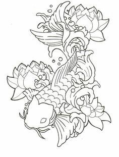 Koi & Lotus Flowers.