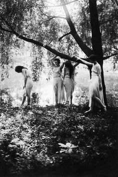 Marion Morgan dancers pose as forest nymphs, titled 'Summer'. Featured in Theatre Magazine, 1918