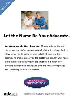 Tip 67 of 70  http://www.caregiverpartnership.com/