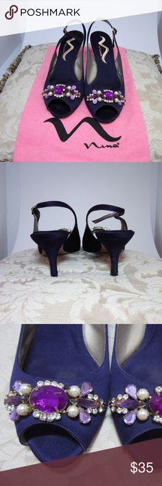 "Nina 2 1/2"" Heel, Purple (Grape), Size 8M Like New In Box w/Flannel Bag. Nina 2 1/2"" Heel, Size 8M, Open Toe Slingback Shoes. Style: Charita; Color: Grape Luster Satin Nina Shoes Heels"