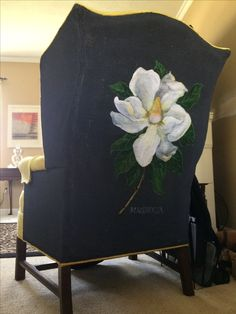 Magnolia botanical illustration in acrylic on lemon yellow, 1960s wingback chair. Maryann Wohlwend, 2015