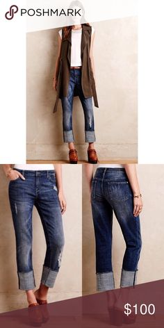 """Anthropologie Pilcro Hyphen Denim •Item Description: Brand New and I am searching for them in a 24. These are a 25, but fit a 26. Purchased from the Anthropologie store for $148 + tax. Washed once, hung dry at time of purchase- assumed they'd fit me because I am always a 25. Price Firm.  •Measurements: 14.5"""" Waist• 17"""" Hips• 8"""" Rise• 25"""" Long  •Material: 98% Cotton• 2% Spandex// Trim: 65% Poly• 35% Cotton  •1 or 2 item bundles, please the """"Buy Now"""" feature. To start a bundle, please request…"""