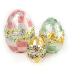 MacKenzie-Childs   Pastel Floral Nesting Eggs - Set of 3