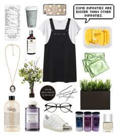 """""""Happy Tumblr aesthetic"""" by silentpoet ❤ liked on Polyvore featuring Monki, adidas, Nails Inc., philosophy, Origins, Forever 21, Lux-Art Silks, MANGO, Fitz & Floyd and Casetify"""