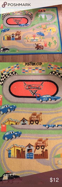 Cars Piston Cup rug Perfect for someone who loves to make cars race around the track! Would be great in a boy's bedroom. Non slip rubberized back. Measures 52 x 40 inches. Top Rated Seller & Fast Shipper! Build a Bundle for a great discount! Smoke & pet free home. Other
