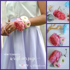 How to make a corsage. Beautiful corsage idea with Ranunculus Flowers from Afloral.com | #corsage #DIYcorsage #makeacorsage #weddingcorsage