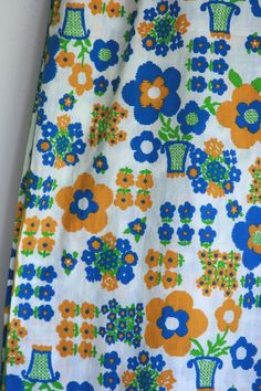 Vintage floral fabric blue and yellow floral cotton by fuzzymama, $18.00