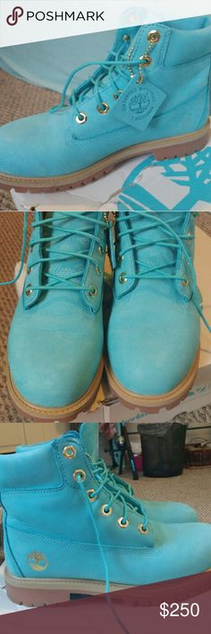 Turquoise timberland boots Turquoise timberland boots size 5.5 juniors, worn twice. No marks. Nothing wrong with the boots. Got them as a Christmas present and never wear them anymore. Fits a size 7 in womens. Timberland Shoes Lace Up Boots