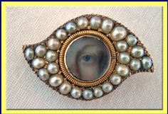 Antique Georgian Miniature Eye Portrait Brooch Gold Pave Set Pearls c1800, buy for $2,750.00