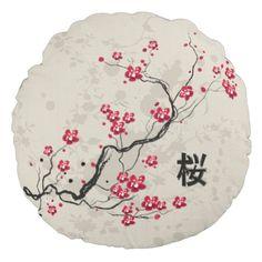 Cute japanese inspired sakura cherry blossom round pillow