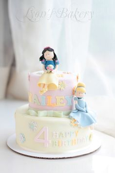 Light Mint & Pink Snow White and Cinderella Cake with Flowers (Hailey)