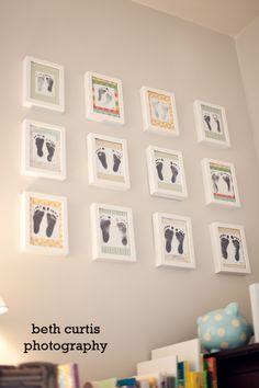 Jeden Monat einen #Fußabdruck in schönen #Bilderrahmen für das #Kinderzimmer