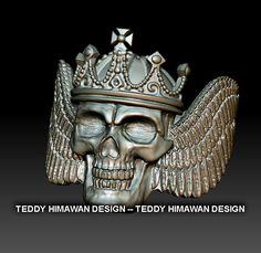 skull ring 3D design jewelry Bali - Indonesia  3d designer Indonesia, 3D printing  3D jewelry CAD CAM Indonesia, 3d jewelry Bali , 3d jewelry designer Indonesia