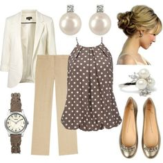 Work - white blazer, linen slacks, love the polka dot top - Spring Work Outfits Style Work, Mode Style, Office Style, Work Chic, Mode Outfits, Fashion Outfits, Womens Fashion, Woman Outfits, Club Outfits