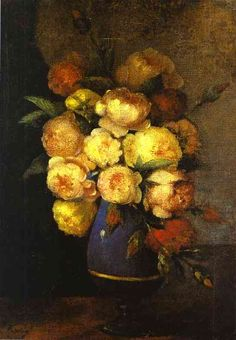 Peonies in a Vase - Henri Fantin-Latour - Completion Date: 1864 -  Style: Realism -  Genre: flower painting -  Technique: oil -  Material: canvas -  Gallery: Hermitage, St. Petersburg, Russia - WikiArt.org