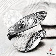 Prstene - Kovaný prsten damasteel a pravý diamant -Velký Svůdce - 57059