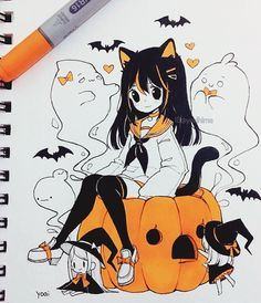 💕 for Spooky Animation & Comic Character Costume,Anime Halloween,Scary,Garotos,Go. Anime Drawings Sketches, Anime Sketch, Kawaii Drawings, Manga Drawing, Manga Art, Cute Drawings, Anime Halloween, Happy Halloween, Halloween Art
