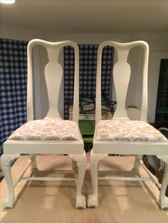 Two Painted And Reupholstered Queen Anne Chairs