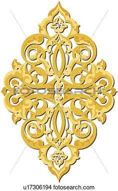 Gold decorative Design Ornament View Large Clip Art Graphic