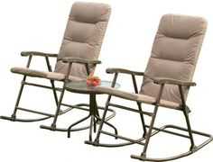 Outdoor 3 Piece Patio Rocker Chairs Table lawn Furniture Garden Deck Porch #SunTime