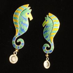 Seahorse Earrings Sterling Silver Enamel Vintage