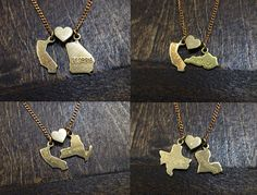 """This is awesome! you get to personalize it and choose your own two states! """"State Loves State You Choose Charm Necklace by BrooklynCharm."""" Available in Etsy!"""