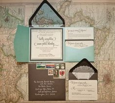 Destination wedding, LOVE this concept for the invitation. Pocket to keep all info together