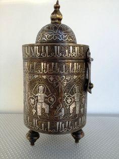 Islamic Silver Inlay Kufic Script Box Brass Persian Seljuk Ottoman Style Figures | eBay