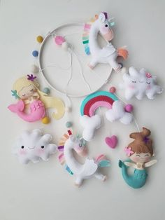 This item is unavailable Diy Arts And Crafts, Diy Craft Projects, Felt Crafts, Crafts For Kids, Baby Mobile Felt, Baby Mobiles, Unicorn Mobile, Diy Bags Purses, Baby Mermaid