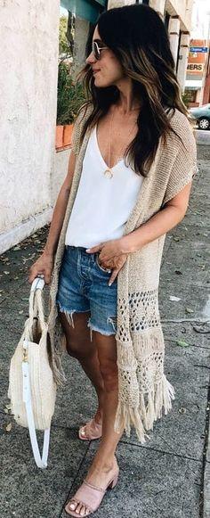 #summer #outfits / crochet cardigan + denim short shorts