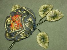 Circa 1920's Ribbonart Flower with picot ombre by Ribbonflowers, $38.95