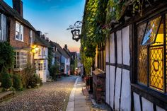 Photographic Print: Dusk at a Row of Beautiful Old Houses on a Cobbled Street in Rye, East Sussex by Helen Hotson : East Sussex, Rye Sussex, Ways To Travel, Places To Travel, Cool Places To Visit, Places To Go, South West Coast Path, Road Trip, Great Western