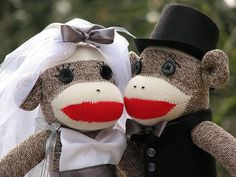 Bride and Groom Sock Monkey by sockmonkeyfun, via Flickr