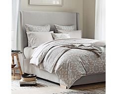 Discover luxury duvet covers and shams from Serena & Lily and find the perfect bedding for your master and guest bedrooms. Dream Bedroom, Home Bedroom, Master Bedroom, Bedroom Decor, Headboard Designs, Headboard Ideas, Grey Headboard, Velvet Headboard, Duvet Cover Design
