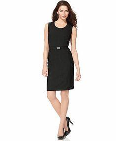 Calvin Klein Dress, Sleeveless Belted Sheath
