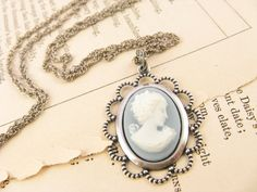 Baby Blue Cameo Pendant Necklace in antique Silver plate #necklace #jewelry #cameo