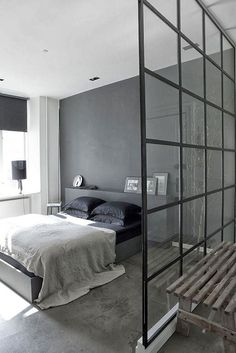 Industrial glass window room divider