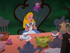 Screencap Gallery for Alice in Wonderland Bluray, Disney Classics). Disney version of Lewis Carroll's children's story. Alice becomes bored and her mind starts to wander. She sees a white rabbit who appears to be in a hurry Alice Disney, Disney Love, Alice In Wonderland Cartoon, Alice Liddell, White Rabbits, Disney Drawings, Disney Cartoons, Tea Party, Animation