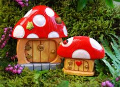 Mushroom Fairy Doors Red -  Hand Painted - High Quality by PeakdaleSculptures on Etsy https://www.etsy.com/listing/191423280/mushroom-fairy-doors-red-hand-painted