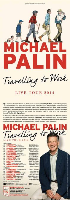 """""""Travelling to Work"""" Book Tour Online Poster Michael Palin, New Television, Around The World In 80 Days, Online Posters, Your Man, Bristol, Travelling, Trips, Entertaining"""