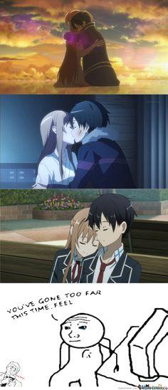 Last kiss in virtual world. First kiss in real world Sword Art Online Meme, Fan Anime, Online Anime, Kirito, Awesome Anime, Manga Art, World, Kiss, Boards