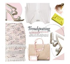 """""""Yellow Hint"""" by firstboutique ❤ liked on Polyvore featuring Melissa, Balenciaga, Brian Atwood, yellow, Pink and rose"""