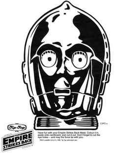 free printable star wars masks:  darth vader, storm trooper, chewbacca, c3p0