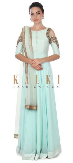 Buy this Blue mint anarkali suit with fancy cut at shoulder only on Kalki Indian Party Wear, Indian Wedding Outfits, Indian Wear, Indian Outfits, Trajes Anarkali, Anarkali Dress, Long Anarkali, Lehenga Choli, Sarees