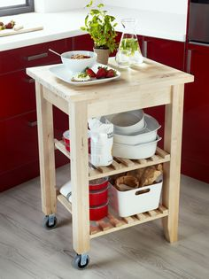 Is your kitchen too small for an island? A kitchen cart, like BEKVÄM, can be just as useful. Plus, the shelves give you even more portable storage space. Small Kitchen Cart, Kitchen Trolley, Diy Kitchen Island, New Kitchen, Kitchen Storage, Kitchen Decor, Ikea Kitchen Cart, Rental Kitchen, Kitchen Ideas