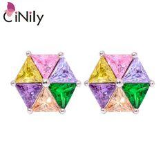 CiNily Green Quartz Amethyst Morganite Pink Zircon Citrine Silver Plated Earrings Wholesale Women Jewelry Stud Earrings FH7276