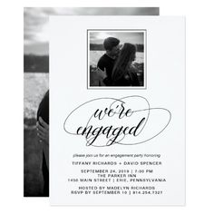 Black and White Fancy Script Engagement Party Card